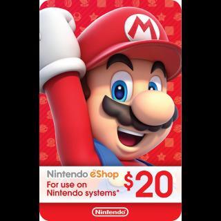 eCash - Nintendo eShop Gift Card $20 - Switch / Wii U / 3DS Digital Code