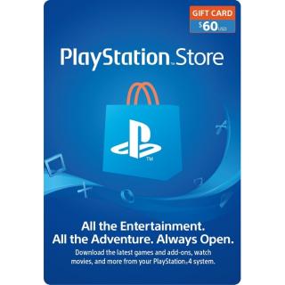 $60 PlayStation Store Gift Card - PS4/ PS3/ PS Vita