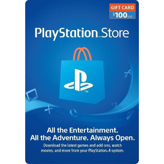 $100 PlayStation Store Gift Card - PS3/ PS4/ PS Vita