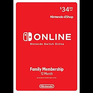 Nintendo Switch Online Family Membership 12 Month - Nintendo Switch
