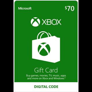 $70 Xbox Gift Card - Digital Code
