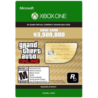 [𝐈𝐍𝐒𝐓𝐀𝐍𝐓] GTA Online (GTA 5): The Whale Shark Cash Card 3,500,000$ XBOX ONE KEY GLOBAL