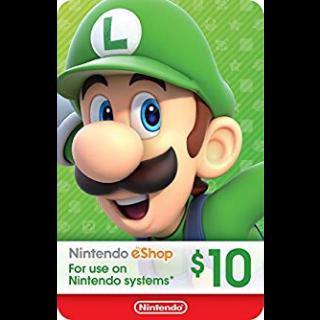 $10.00 Nintendo eShop (SALE OFF)