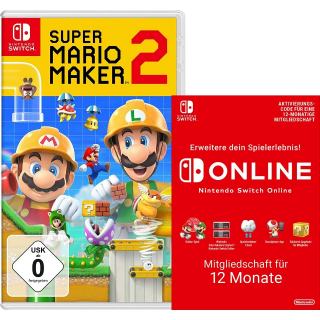 Super Mario Maker 2 [Nintendo Switch] + Switch Online 12 Monate [Download Code] 69.98€