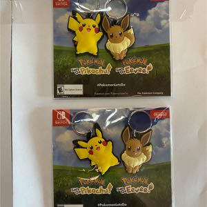 Two Nintendo Switch Pokemon Lets go - Eevee Pikachu, set of 2 Keychain