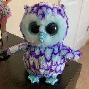 TY Beanie Boos OSCAR THE BLUE & PURPLE OWL Plush Stuffed Animal TOY 2015