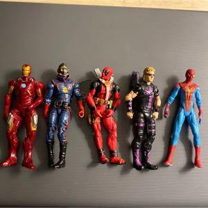 Five Marvel Action Figures Hasbro