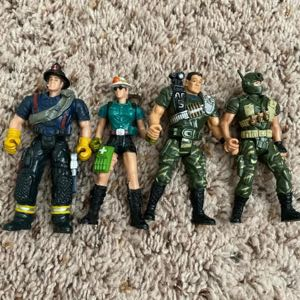 "Four 3.75"" CHAP MEI MILITARY  SOLDIERS  & Firefighters"