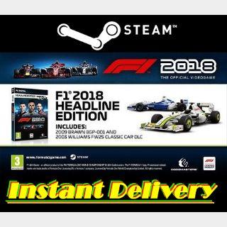 F1 2018 & DLC - Steam Keys - Region Free - Instant Delivery