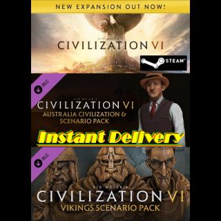 Sid Meier's Civilization® VI & 2x DLCs - Steam Keys - Instant Delivery - RRP = $69.97