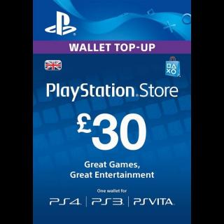 £30.00 UK PlayStation Store Gift Card United Kingdom