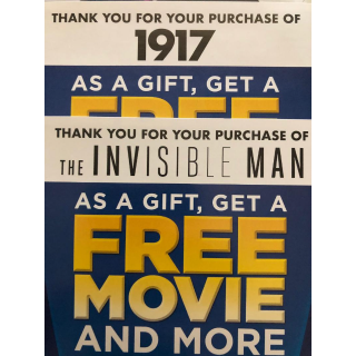 3000 points use on myuniversalrewards.com (1 code from 1917 and 1 code from  invisible man, 1 the hunt) please read details