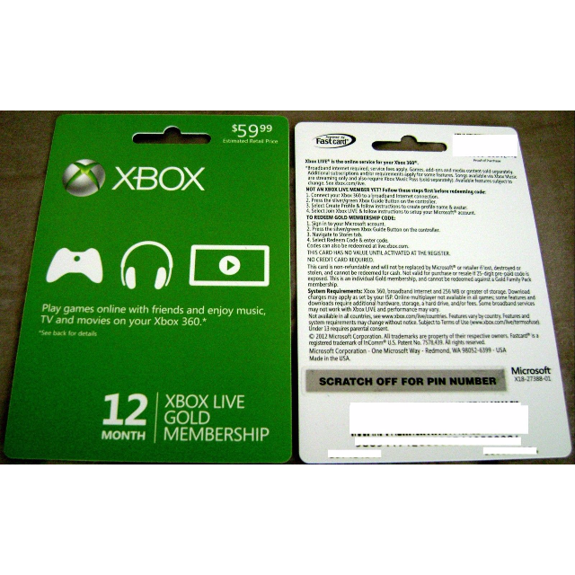 XBox Live 12 Month Gold Membership - Xbox Gift Card Gift