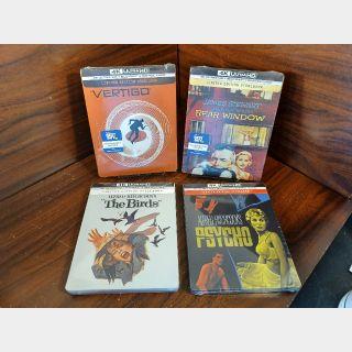 Hitchcock 4 Movie Collection (Psycho/Birds/Rear Window/Vertigo) 4KUHD Digital Code – Movies Anywhere