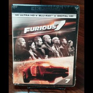 Furious 7  4K HD iTunes Digital Code Only – Redeems on iTunes