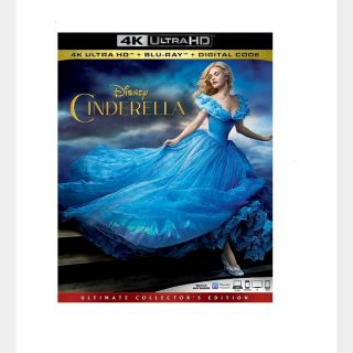Disney's Cinderella (2015) 4K Digital Code Only – Movies Anywhere/Vudu Only (Full Code - Disney Points Redeemed)