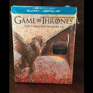 Game of Thrones - Seasons 1 - 6 (HD) Vudu Digital Code Only