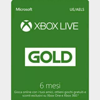 Xbox Live Gold 6 Month Membership UE/AELS