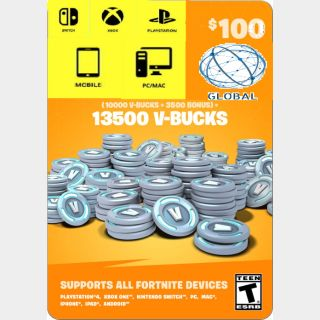 $100.00/80.00 GIFT CARD FORTNITE 13500 V-BUCKS GIFT CARD OF 100$ INSTANT DELIVERY GLOBAL EPIC KEY