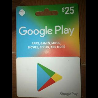 $25.00 Google Play Gift Card (US)
