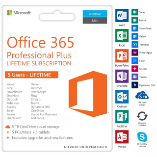 I will Office 365 pro Lifetime✔️5 Devices w/ 5TB Onedrive