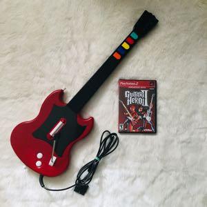 Ps2 Red Octane Guitar Hero Guitar W Game
