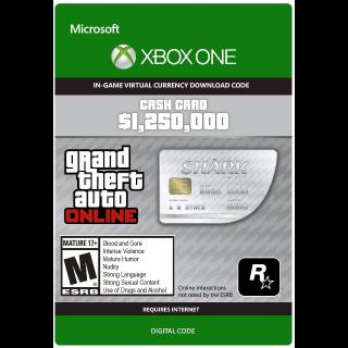 GTA Online (GTA 5): Great White Shark Cash Card 1,250,000$ XBOX ONE KEY GLOBAL
