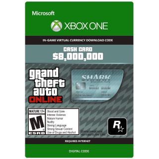 Grand Theft Auto Online (GTA 5): Megalodon Shark Cash Card - 8,000,000$ XBOX ONE CD-KEY GLOBAL