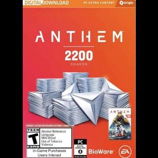 Anthem: 2200 Shards Origin Key GLOBAL