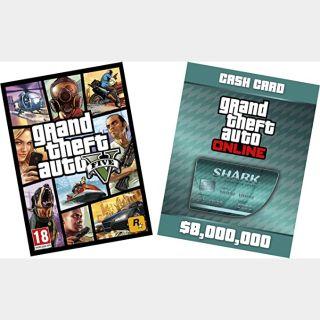 Grand Theft Auto V + Megalodon Shark Cash Card Rockstar Key (PC) ✔️ (GTA V 5)