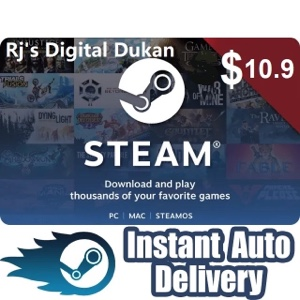 $10.90 Steam Gift card Instant Delivery