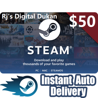$50.00 Steam GIft Card Global (INSTANT)