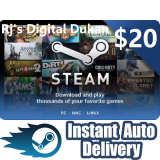 $20.00 Steam Steam Gift card GLOBAL (INSTANT DELIVERY)