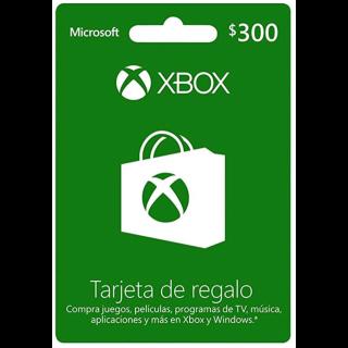 300$ pesos Xbox trajeta de regalo/ xbox gift card