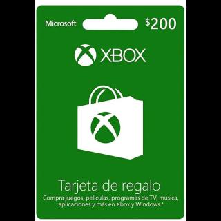 Xbox trajeta de regalo Mexico 200$ pesos