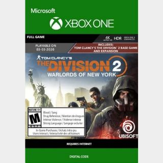 The Division 2: Warlords of New York  (Xbox One) Xbox Live Key GLOBAL