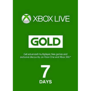 Xbox Live Gold 7 Days Original NOT TRIAL