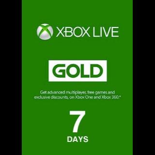 Xbox Live Gold 7 Days Original NOT TRIAL