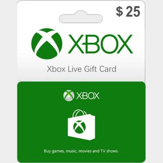 $25.00 Xbox Gift Card 25 USD (Instant Delivery)