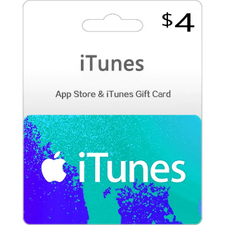 iTunes Gift Card 4 USD (Instant Delivery)