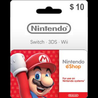 $10.00 Nintendo eShop Gift Card 10 USD (Instant Delivery)