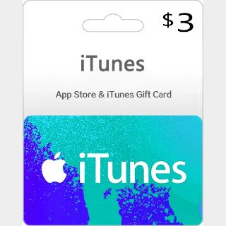 iTunes Gift Card 3 USD (Instant Delivery)