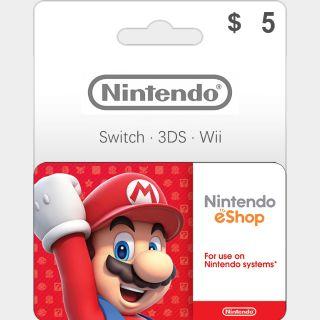 $5.00 Nintendo eShop Gift Card 5 USD (Instant Delivery)