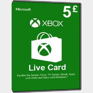 £5 GBP Xbox Gift Card Key/Code UK Account