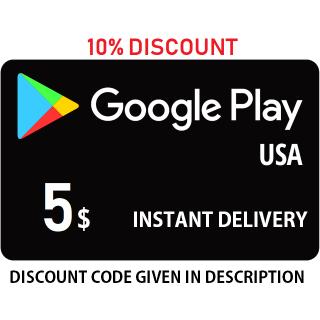 $5 Google Play (INSTANT) (USA) ✔✔  DISCOUNT CODE: FCF5WLXX