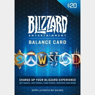 $20 Battle.net Store Gift Card Balance - Blizzard Entertainment Online Game Code