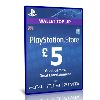 £ 5 UK Sony PlayStation Network Card - PlayStation Vita / PS3 / PS4 / PSN - Auto Delivery