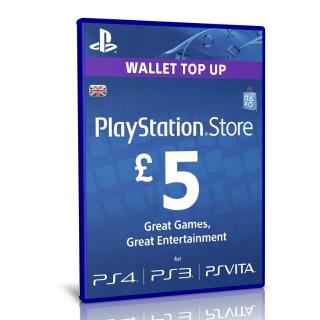 £ 5 UK Sony PlayStation Network Card - PlayStation Vita / PS3 / PS4 / PSN