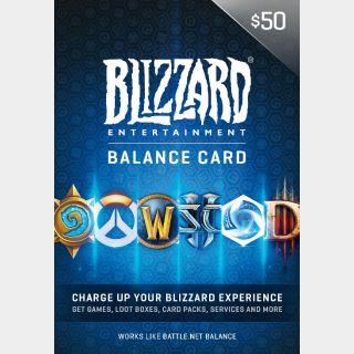$50 Battle.net Store Gift Card Balance Online Game Code