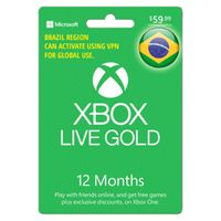 Xbox Live Gold 12 Months 1 Year Subscription Membership Brazil